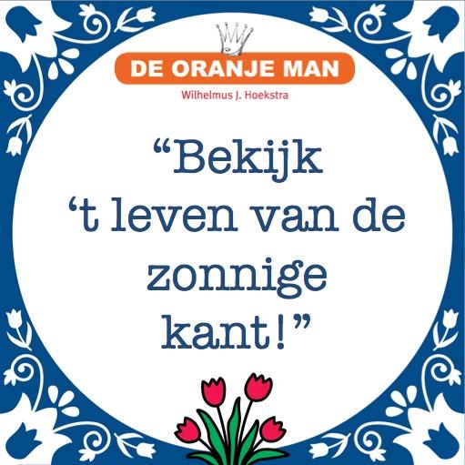 De Oranje Man Bekijk het leven van de zonnige kant